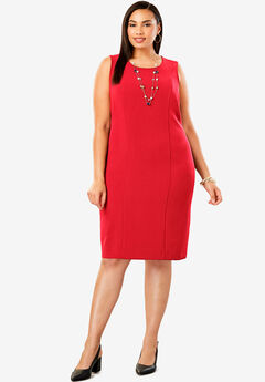 Bi-Stretch Sheath Dress, HOT RED