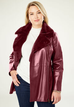 Faux Sherpa Leather Jacket, BURGUNDY