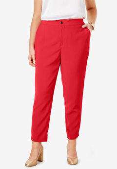 Bi-Stretch Ankle Pant, HOT RED