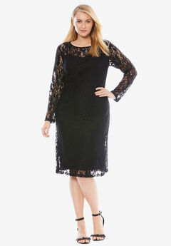 Lace Shift Dress, BLACK