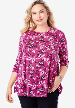Swing Tunic, RASPBERRY JACOBEAN FLORAL