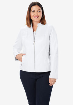 Zip Front Leather Jacket, WHITE