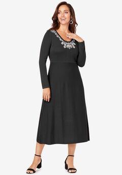 Embellished Sweater Dress, BLACK JEWEL FLORAL