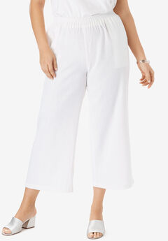 Wide Leg Linen Crop Pant, WHITE