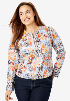 Collarless Leather Jacket, SUMMER FLORAL
