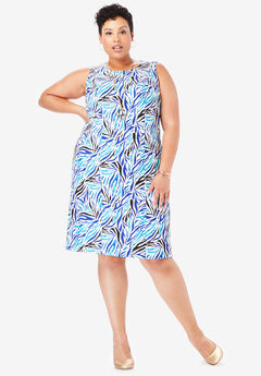 Tummy Control Bi-Stretch Sheath Dress, ULTRA BLUE ZEBRA