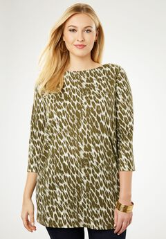 Refined Boatneck Tunic with Goldtone Buttons, OLIVE DUSK ANIMAL
