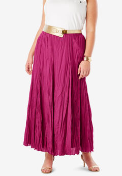 Cotton Crinkled Maxi Skirt, BRIGHT BERRY