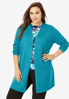 Fine Gauge Side Slit Cardigan,