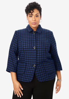 Cropped Blazer, ULTRA BLUE HOUNDSTOOTH