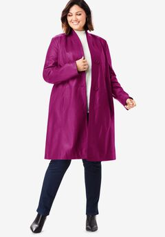 Leather Swing Coat, RASPBERRY
