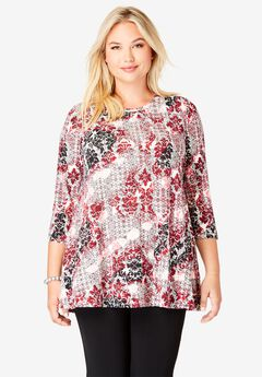 Trapeze Tunic, BRIGHT RUBY MEDALLION
