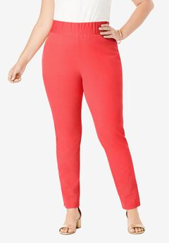 Tummy Control Twill Ankle Pant, SOFT GERANIUM