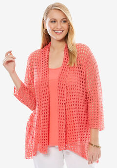 Crochet Cardigan Sweater, CORAL ROSE