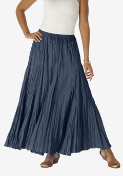 Cotton Crinkled Maxi Skirt, NAVY