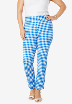 Tummy Control Twill Ankle Pant, COBALT MINI GINGHAM
