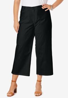 Wide Leg Poplin Crop, BLACK