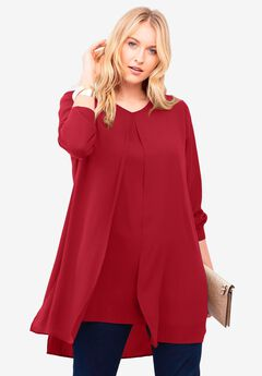 Flyaway V-Neck Tunic, CLASSIC RED