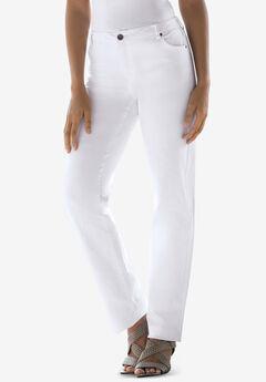 True Fit Straight Leg Jeans, WHITE