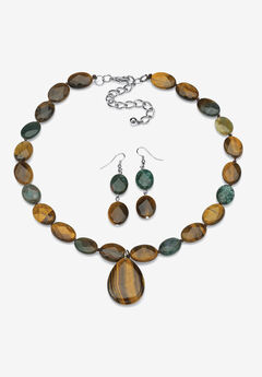 Strand Necklace and Drop Earring Set, Genuine Tiger's Eye and Jasper,