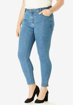 True Fit Zip Ankle Pant, MEDIUM STONEWASH