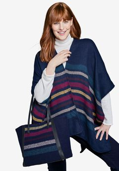 Striped Shawl & Bag Set,