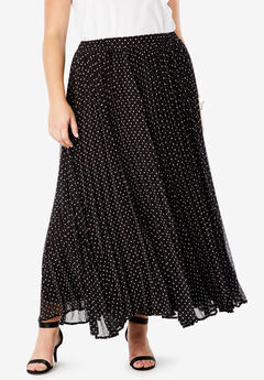 Pleated Maxi Skirt, BLACK POLKA DOT
