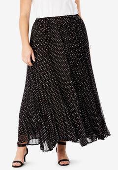 Pleated Maxi Skirt, BLACK POLKA DOT