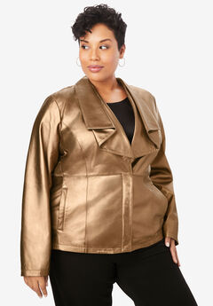 Drape-Front Leather Jacket, BRONZE METALLIC