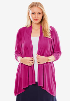 Drape Front Cardigan, BRIGHT BERRY