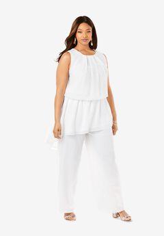 2-Piece Wide Leg Pant Set, WHITE