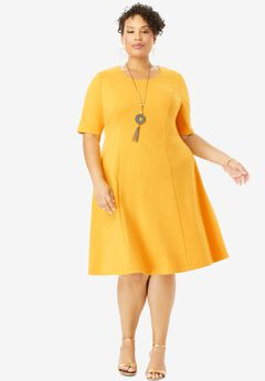 Ponte Flare Dress, SUNSET YELLOW