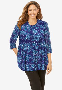 Swing Tunic, NAVY FLORAL VINE
