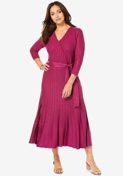 Wrap Sweater Dress, BERRY TWIST