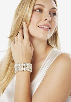 Pearl & Rhinestone Multi-Strand Bracelet,
