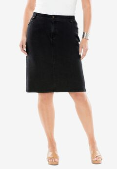 True Fit Denim Short Skirt, BLACK