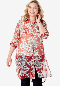 Mega Tunic, PEPPER RED BOTANICAL FLORAL