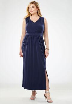 Travel Knit V-Neck Maxi Dress, NAVY
