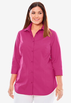 Three-Quarter Sleeve Poplin Shirt, BRIGHT BERRY