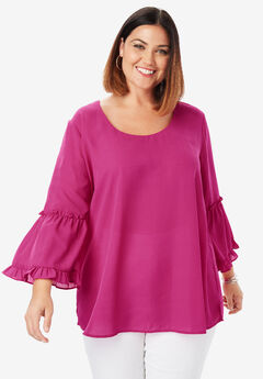 Georgette Flare Blouse, BRIGHT BERRY