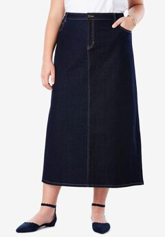 True Fit Denim Skirt, INDIGO WASH