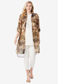 Mega Tunic, BROWN PAISLEY ANIMAL