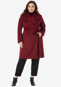 Belted Wool-Blend Coat, RICH BURGUNDY