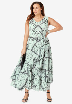 Flyaway Maxi Dress, CRYSTAL JADE SCARF PRINT