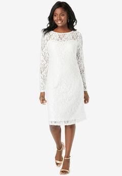 Lace Shift Dress, WHITE