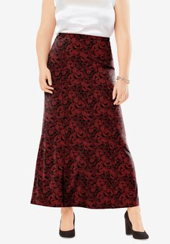 Travel Knit Maxi Skirt, CLASSIC RED MINI PAISLEY