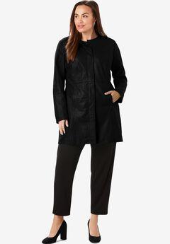 Three-Quarter Leather Jacket, BLACK