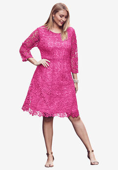 Lace Fit & Flare Dress, TROPICAL RASPBERRY