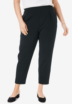 Signature Knit Crepe Tapered Ankle Pant, BLACK