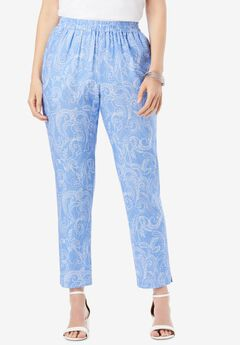 Linen Ankle Pant, BLUE DOTTED PAISLEY